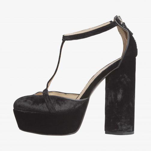 Zendaya Velvet Platform T Bar Shoes